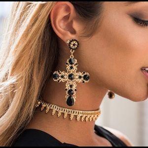Cross trendy earrings NWT